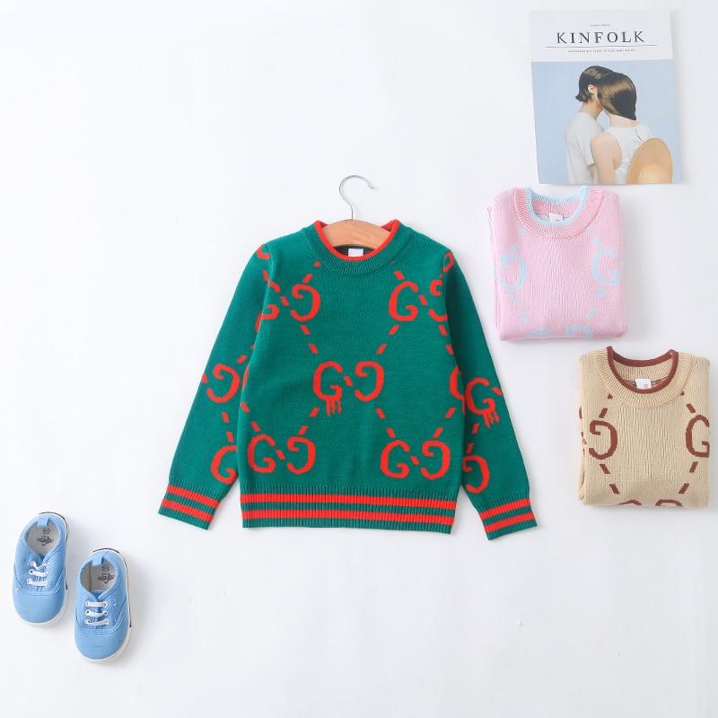 New Style Western Style Korean-style Cartoon Round Neck Pullover Sweater Autumn And Winter Children Base Shirt Children Geometri