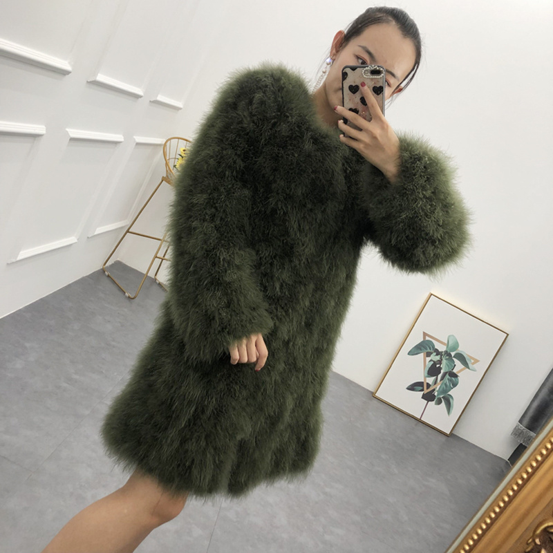 Natural Turkey Feather Coat Long Section Ostrich Feather Outerwear Ladies Spring Autumn Winter Feather Overcoat Female