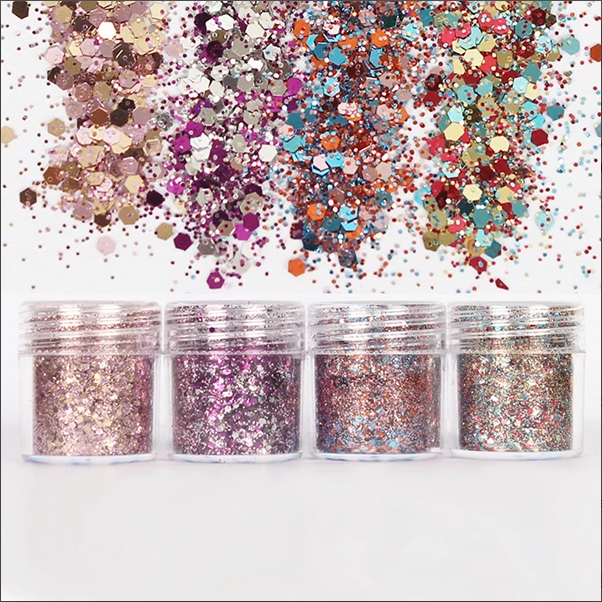 Colorful Hexagon Glitter Mix In Christmas Theme Embellishment For Resin Crafts Festive Jewelry Tools Uv Resin Pigment (4 Pcs)