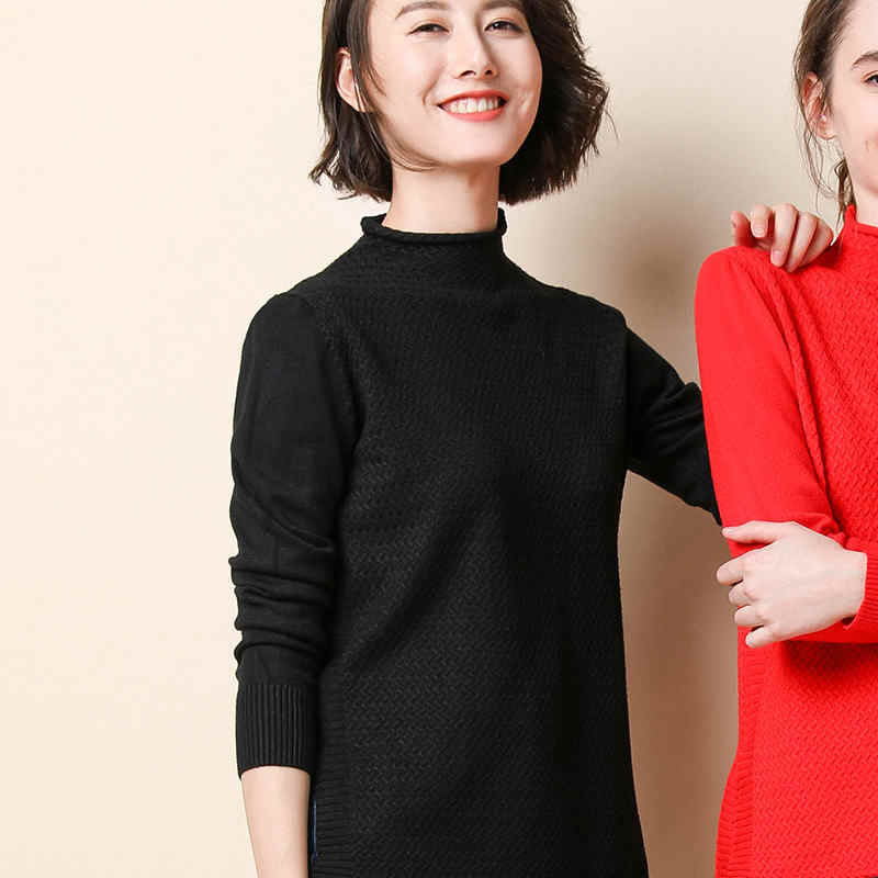 High Quality Fashion Women's Autumn Winter Knit Sweater Casual Solid Color Half-high Collar Pullover Warm Comfortable Sweaters