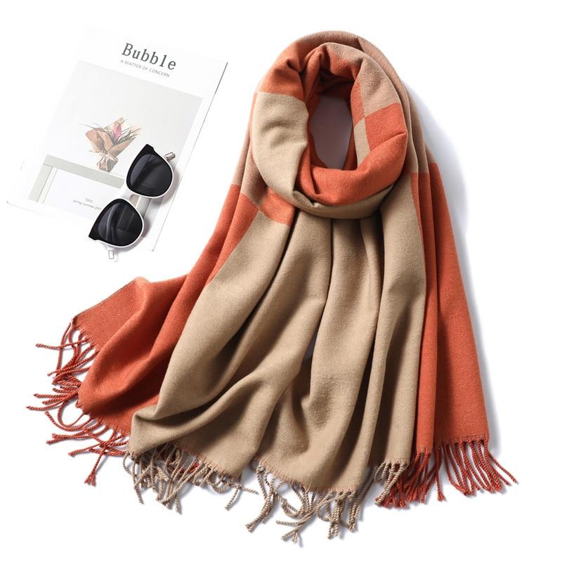 Cashmere Plaid Scarf Women 2019 New Winter Scarves Thick Warm Pashmina Solid Shawls And Wraps Lady Blacket Cape Echarpe Femme