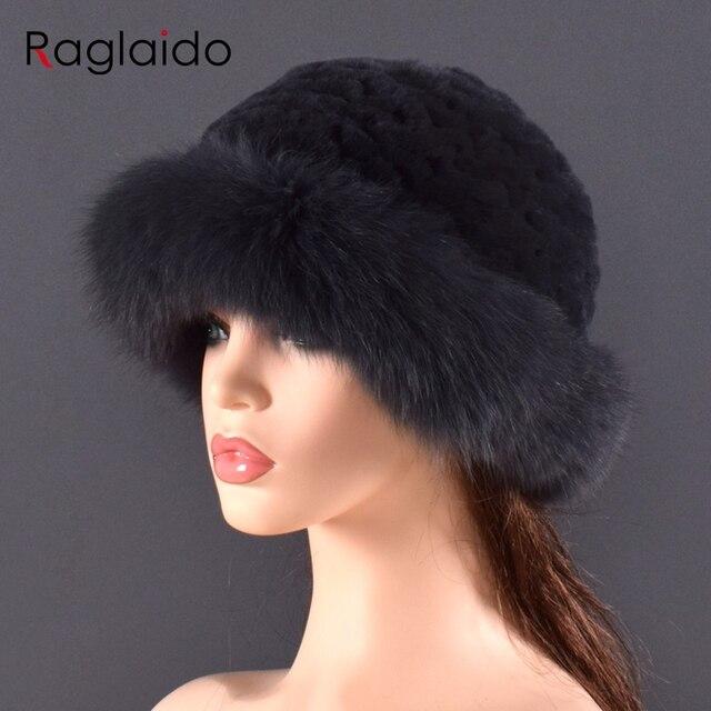 Vrouwen Echt bont Hoed konijnenbont en vossenbont Bescherming Oor Pluizige mutsen mode Gebreide cap warme winter bont hoeden voor vrouwen Ski