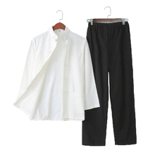 Umorden Pure Cotton Traditional Chinese Tang Suit Long Sleeve Set Kung Fu Clothes Uniform Shirt Coat Pants for Men