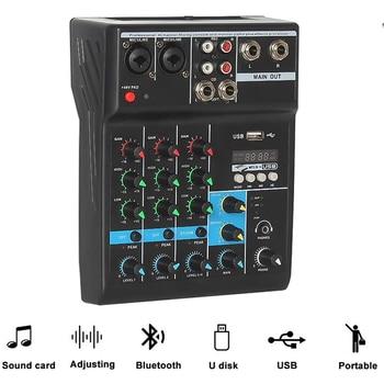 Professional 4 Channel Bluetooth Audio Mixer Sound Mixing Console Audio Interface USB Sound Card for Computer Home Karaoke tkl t12 professional stage 12 channel audio dj mixer bluetooth sound mixer audio karaoke phantom power 48v usb jack