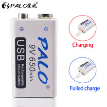 PALO micro USB 9V Lithium Rechargeable Battery 650mAh 6F22 9V li-ion battery for RC Helicopter Model Microphone Toy batteries