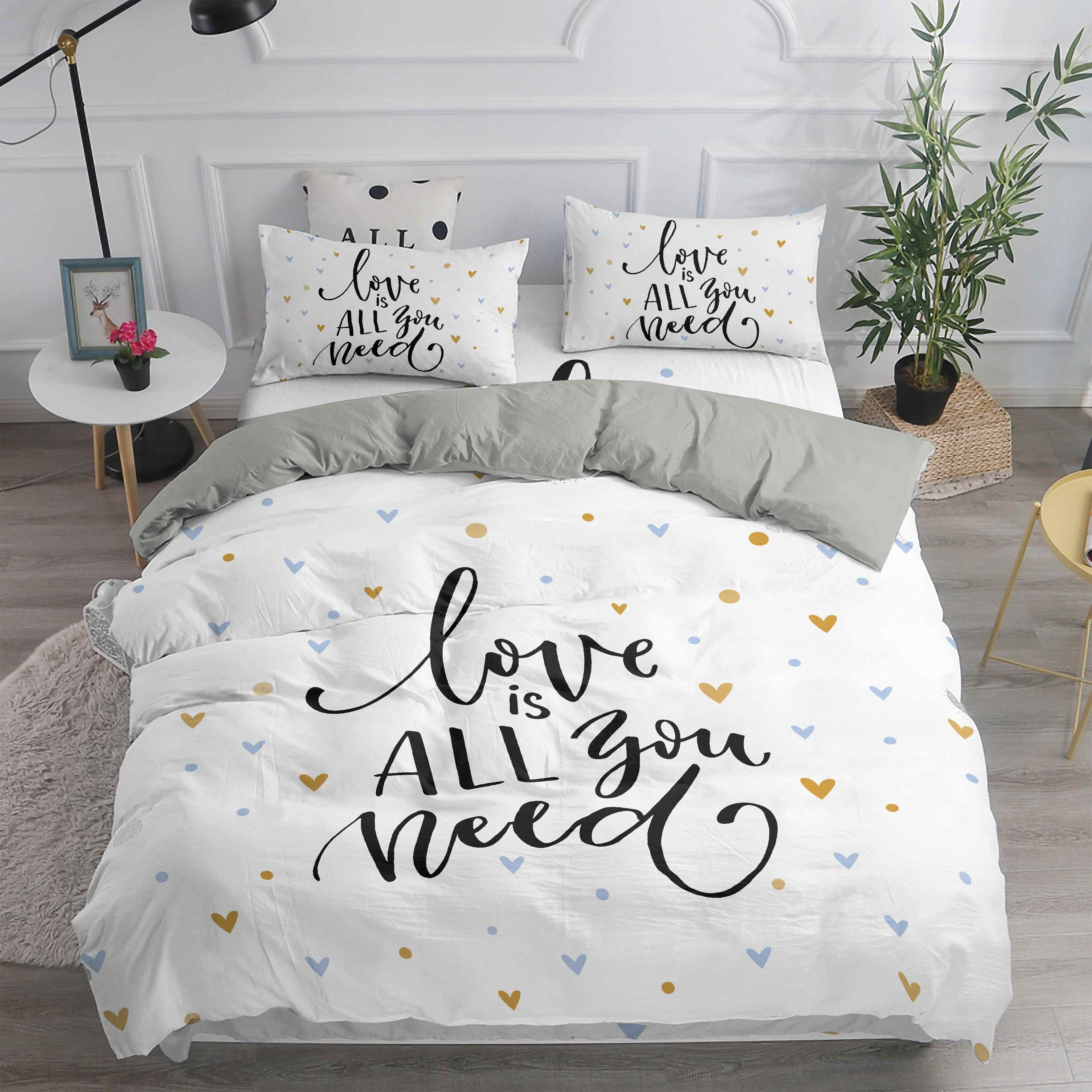 ZEIMON 3D Heart Printed Simple Bedding Sets English Letter Printing Kid Duvet Cover Pillowcase Bed Set Girl Adult Bedclothes