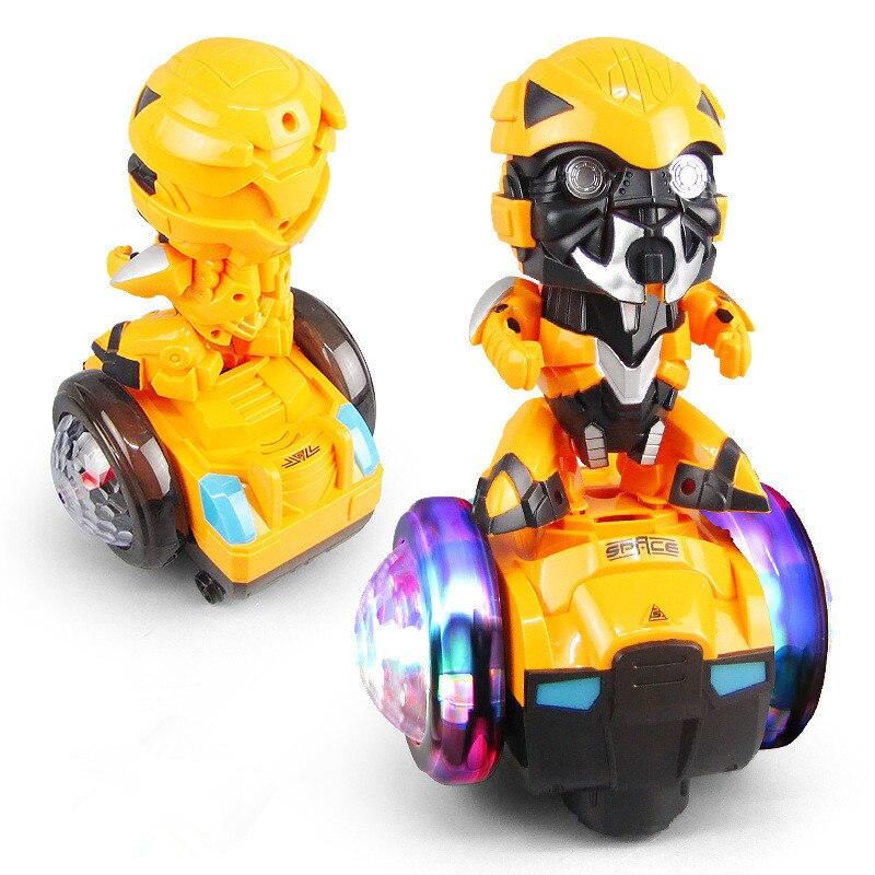 Electric Rotating Balance Robot Bumblebee Car Dancing Music Lighting Toy Children Gift