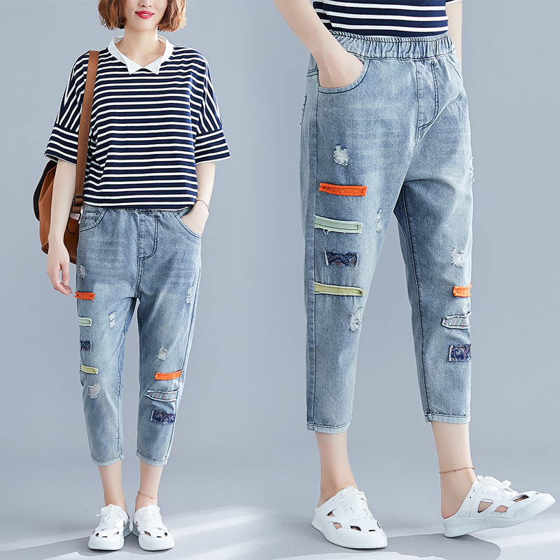 Women Fashion Korea Style Elastic Waist Denim Loose Embroidery Hollow Out Cropped Trousers Office Lady Casual Jeans Harem Pants