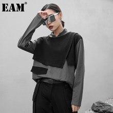 EAM-Camiseta de manga larga con cuello alto para mujer, camiseta de Color gris con contraste, Irregular, talla grande, moda de tendencia, primavera y otoño, 1DB350, 2021