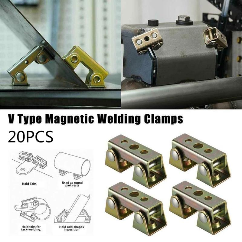 Clamps Magnetic 20Pcs Strong Holder Pads Type V V Jig Hand Adjustable Welding Tool Fixture Welder Welding