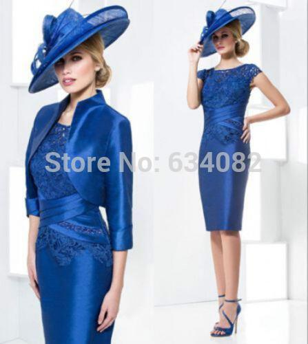 2016 New Arrive Blue Lace Flower Short Mother Of The Bride/Goom Dress Party Gown Formal Prom Evening Gowns With Jacket Custom