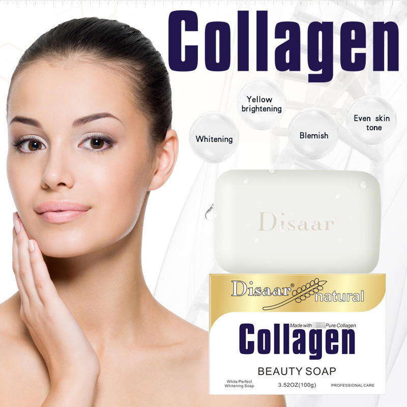 Disaar Natural Collagen Beauty Handmade Soap Face Cleanser Face Wash Agents Acne Nourishing Deep Cleaning Facial Skin Care