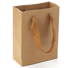 크래프트 종이 가방 16*12cm 웨딩 파티 선물 가방 사각형 갈색 이상적인 걸릴 패스트 푸드 등을 핸드 로프, 2Pcs