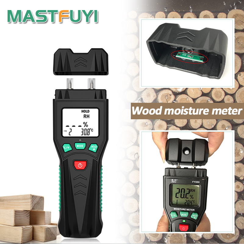 Mastfuyi FY886 два контакта цифровой измеритель влажности для дерева бумага тестер влажности настенный гигрометр детектор влажности древесины Ж...