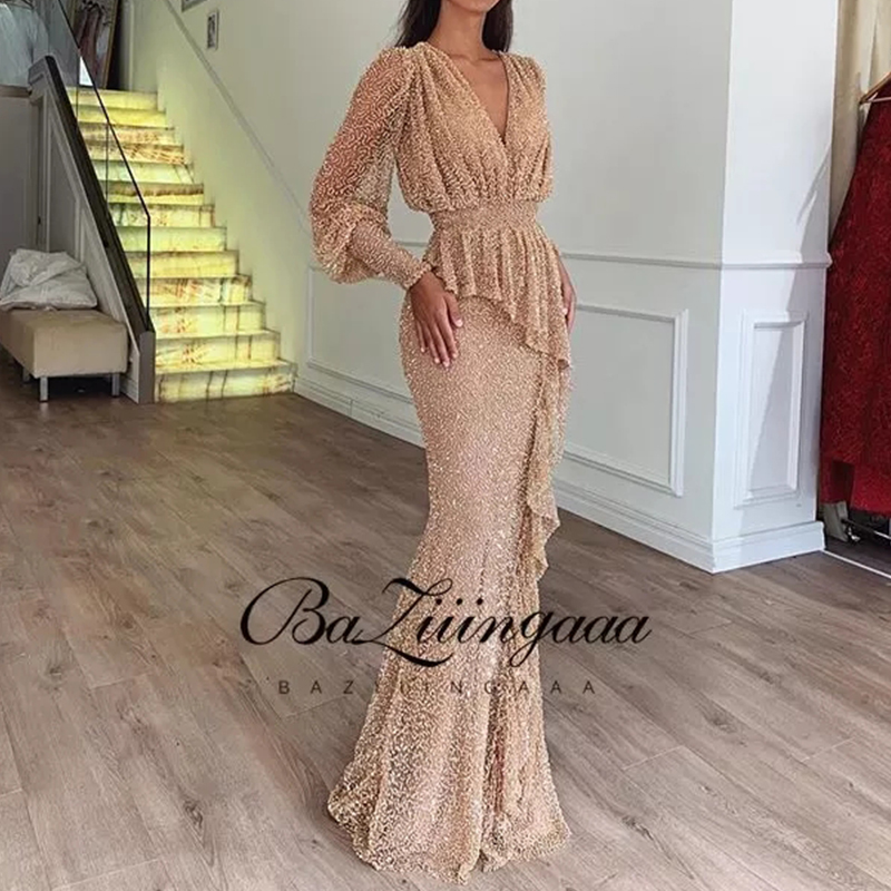 Evening-Gown Party BAZIIINGAAA Elegant Formal Long Plus-Size Woman Luxury Slim Printed