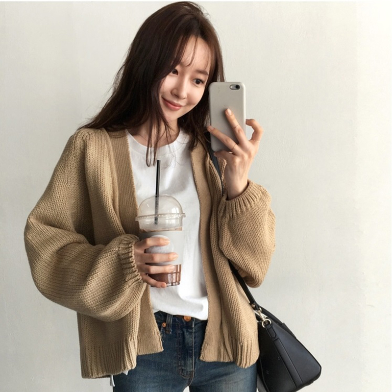 Short Cardigan Women Sweater  Crop Knitted  Fall Girl Vintage 2019  Winter Jacket Korea Loose Casual Thick Warm Sweaters Student