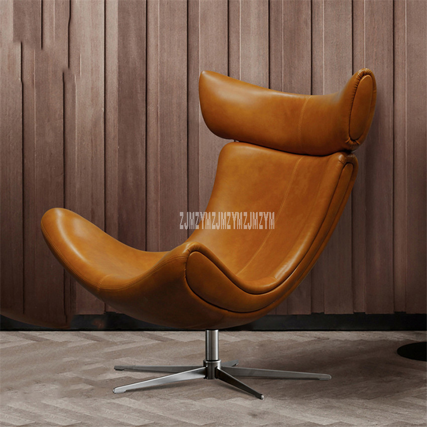 Moderne Lounge Stoel.Fashion Nordic Balcony Adult Lazy Lounge Chair Leather Lazy Chair