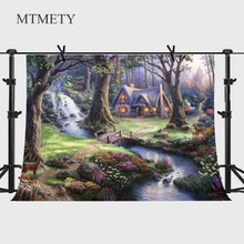 цена на MTMETY Fantasy Wonderland Small Bridge Flowing Water Decroation Photography Backdrops Customer Vinyl Backdrops for Photo Studio