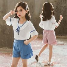girls clothes summer kids clothing sets teen children fashion costume for girls 6 8 12 years flower t shirt strap dress 2 pcs Girls Clothing Sets Summer Kids Fashion White Ruffles T shirt and Shorts Sets 4 6 8 10 12 Years Children Girl Clothes Outfits