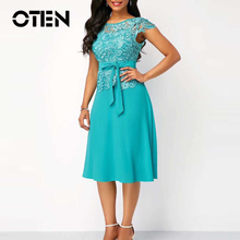 OTEN O-Neck Solid Color Party Women Dress Elegant Ladies Pat