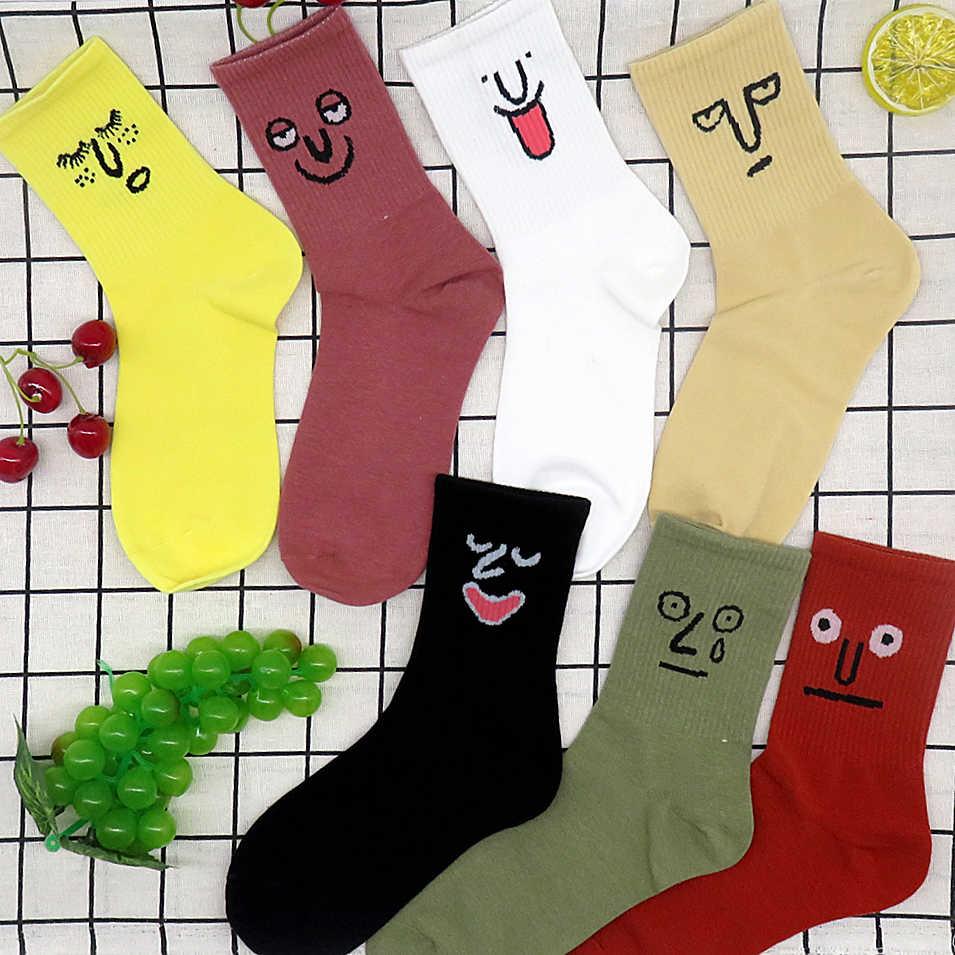 Kawaii الجوارب للجنسين مفاجأة منتصف النساء الجوارب الملونة جوارب بأشكال مضحكة فتاة كوريا جبان Harajuku الاتجاه المرأة مضحك الوجه الجوارب