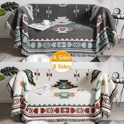 Decorative knitted sofa blanket cotton soft carpet sofa towel lattice tapestry family living room sofa set bed plane travel