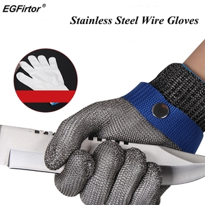 Image 1 - Stainless Steel Wire Safety Gloves Safety Anti cut Stab Resistant Work Gloves Cut Metal Mesh Butcher Anti cutting Work Gloves
