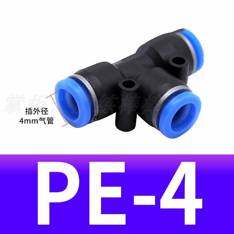 3 الطريق T شكل المحملة الهوائية 10 مللي متر 8 مللي متر 12 مللي متر 6 مللي متر 4 مللي متر 16 مللي متر OD خرطوم أنبوب دفع في الهواء الغاز المناسب سريعة التجهيزات موصل محولات