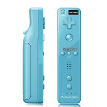 цена на 2 in 1 Motion Plus Remote Controller For Wii mote Remote Controller For Nintendo Wii White/ Black/ Blue/ Pink/ Red