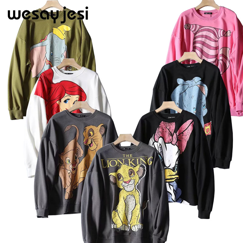 Black Pink 2019 Fall Winter Cartoon Lion King Print Women Sweatshirt Casual Oversize Hoodies Elastic Cuff Stretch O Neck Tops
