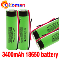 2020 100% New Original 18650 battery NCR18650B 3.7 v 3400 mah 18650 Lithium Rechargeable Battery For Flashlight batteries + wire