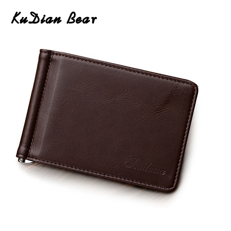 KUDIAN BEAR Men Money Clip Metal Solid Short Wallet Minimalist Clamps For Money Male Card Organizer Slim Coin Pocket BID257 PM49