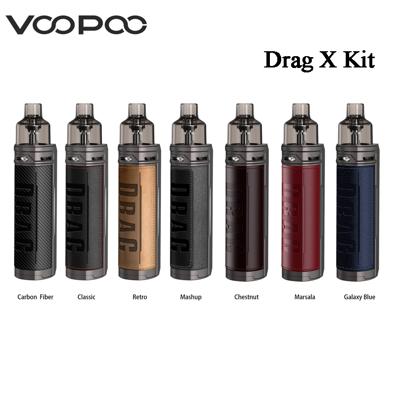 Original VOOPOO Drag X Mod Pod Kit 4.5ml Pod Cartridge 80W Vape Power By Single 18650 Battery E-Cigarette Vaporizer MTL Pod Kit