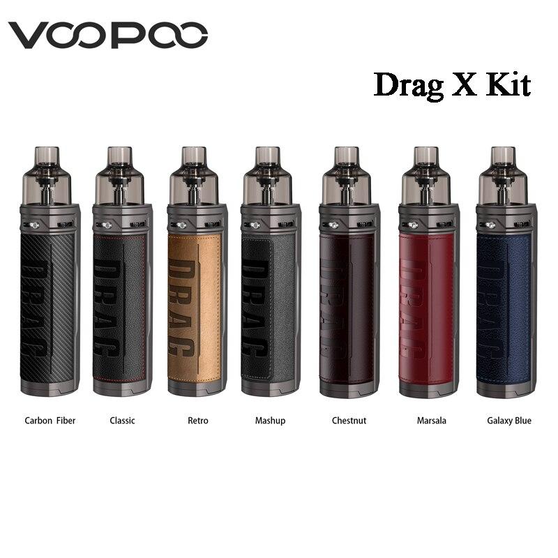 Original VOOPOO Drag X Mod Pod Kit 4.5ml Pod Cartridge 80W Vape Power By Single 18650 Battery E-Cigarette Vaporizer MTL Pod Kit