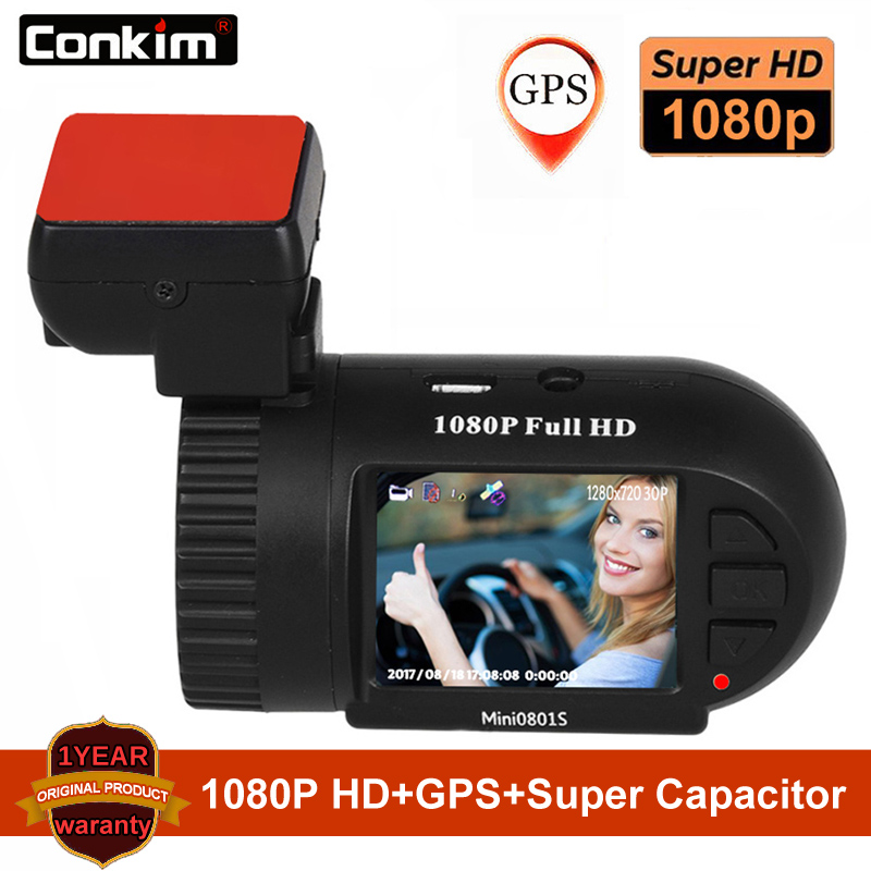 Conkim Car Cameras Mini 0801S Upgrade 0801 1080P Full HD dashcam H.264 Dash Camera GPS Logger G-sensor AIT8328P OV2710 Car DVRs