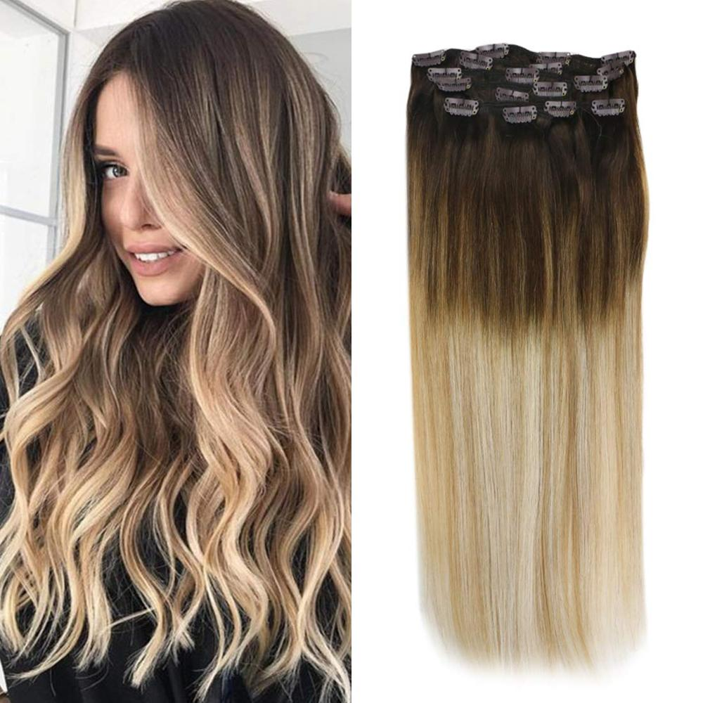 VeSunny Double Weft Clip In Hair Extensions Real Human Hair 7pcs 120gr Balayage Brown To Caramel Blonde Highlights #4/27/60