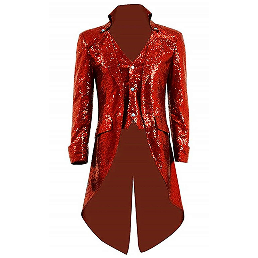 Glitter Chriatmas Red Sequins Long Blazer Jacket For Party Male Female Cosplay Costume Magic Show Bar Steampunk Tailcoat Jacket
