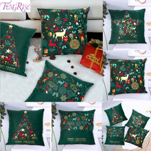 45x45cm Green Cotton Hot Stamping Cushion Cover Merry Christmas 2019 Ornament Pillow Decor For Noel Navidad New Year