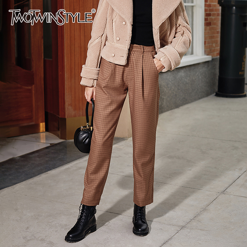 TWOTWINSTYLE Vintage Plaid Women Ankle-length Pants High Waist Pleated Hit Color Straight Pant Female Fashion Clothing 2020 Tide