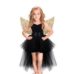 Image 1 - Halloween Unicorn Princess Dress Birthday Party Cosplay Angel Dresses Children Mesh Tutu Skirt Pink Lace Sling Costume for Girls