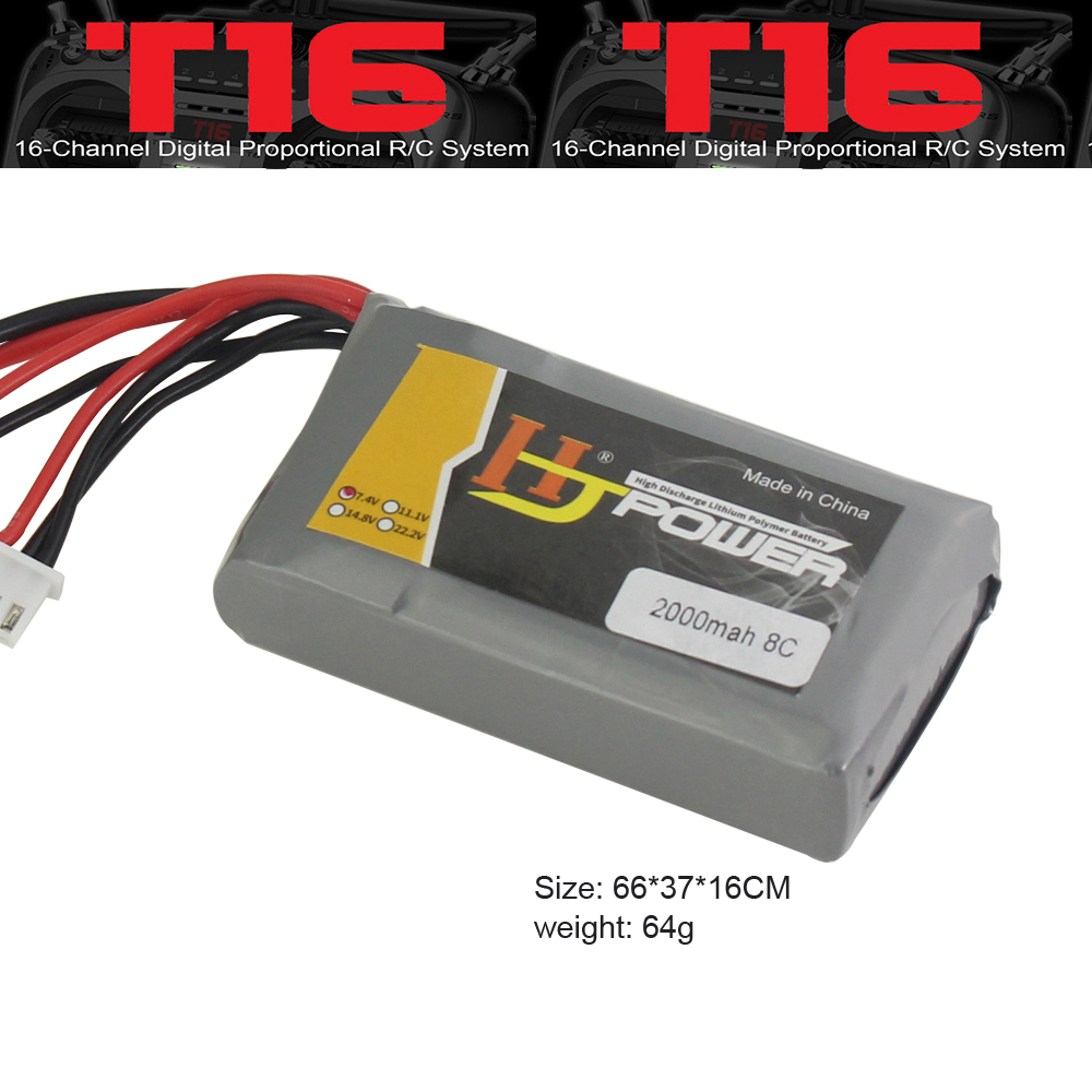 Transmitter <font><b>2000mAh</b></font> <font><b>2S</b></font> 7.4V 8C for Jumper T16 Remote Control <font><b>Lipo</b></font> Battery for Frsky X7/X7S image
