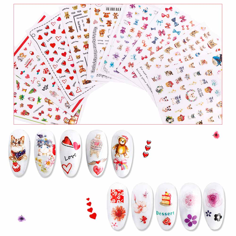 6PCS Mixed Nail Sticker Art Deco Nails Randomly Send Six 3D Stickers Fruit Animal Series Nail Decoration  Children Sticker Toys