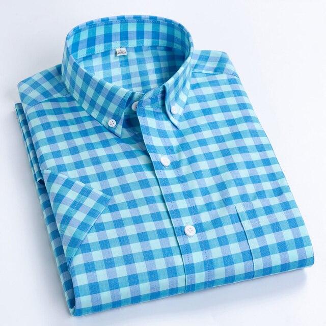 Plaid Checkered Short Sleeve Cotton Shirts 1