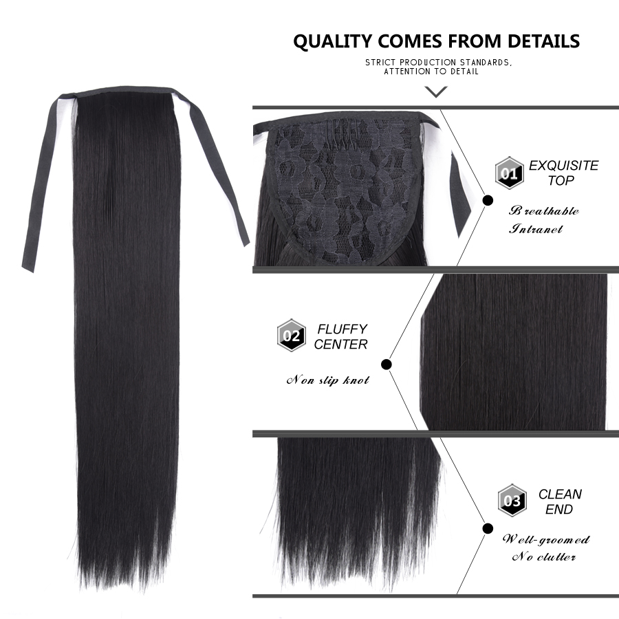 Headwear Extended Ponytail-Hair Synthetic-Hair-Fiber 30-Inch Brown Heat-Resistant Black