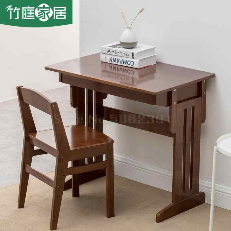 Students'desk And Chair Set Bamboo Solid Wood Simple Can Lift And Lift Writing Table Household C
