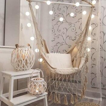Tassel Garden Hammock Chair Deluxe Hanging Hammock Swing Chair Swing for Out/Indoor Patio Porch Decor