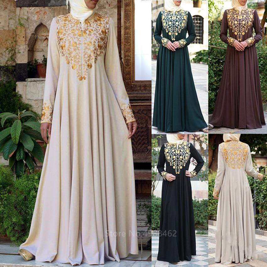 Muslim Traditional Clothing Fashion Women Islamic Duiba Abaya Turkish Party Elegant Golden Printed Long Sleeve Maxi Dress Kaftan