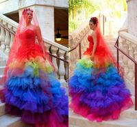 2020 Exotic Sweetheart Red Blue Colorful Tulle Rainbow Gothic Wedding Dresses Custom made Cascading Ruffles Plus Bridal Gown