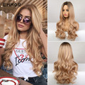 Emmor Long Wavy Hair Wig Ombre Brown to Blonde Synthetic Wigs for Women Natural Middle Part Heat Resistant Hair Cosplay Wigs
