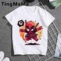 Футболка Kawaii Deadpool, Детские забавные летние топы, мультяшная футболка, симпатичная графическая футболка унисекс, повседневная детская одежд...